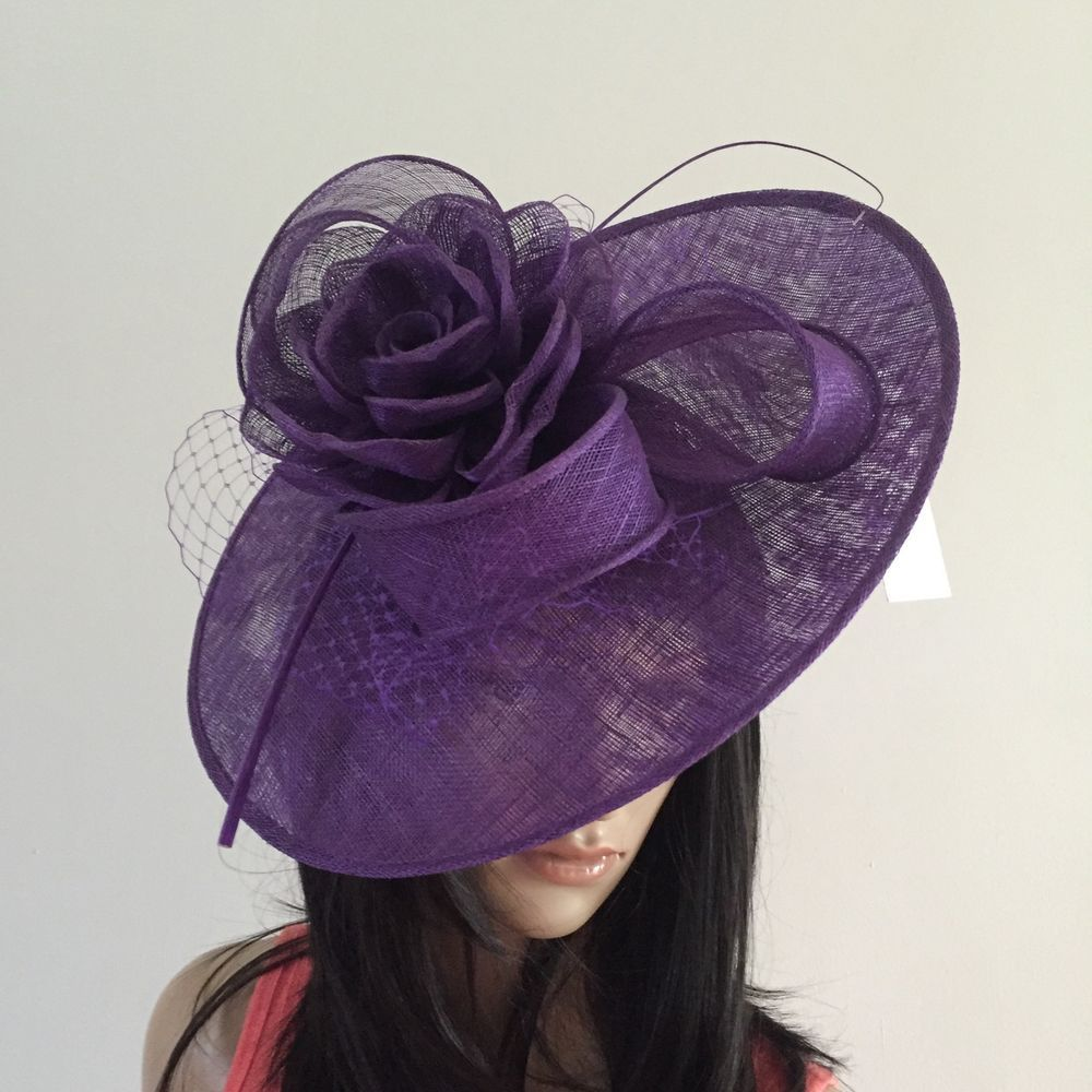 PURPLE WEDDING HAT DISC FASCINATOR OCCASION MOTHER OF THE BRIDE  | eBay