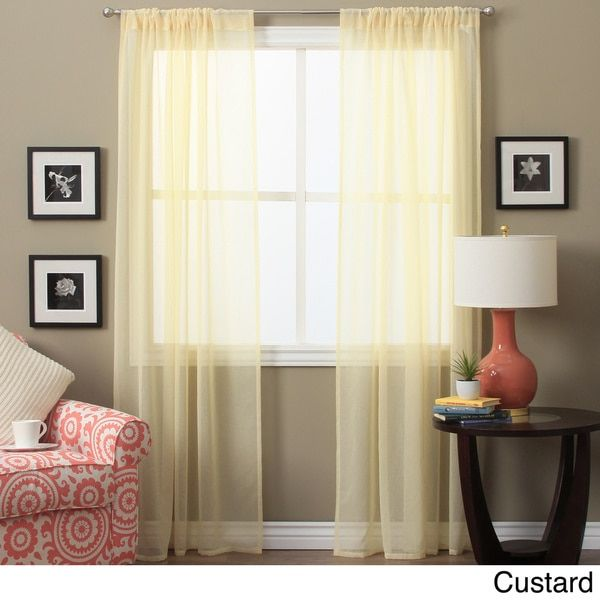 Lucerne 84 Inch Sheer Curtain Pair Panel 52 X 84 Sheer Curtain