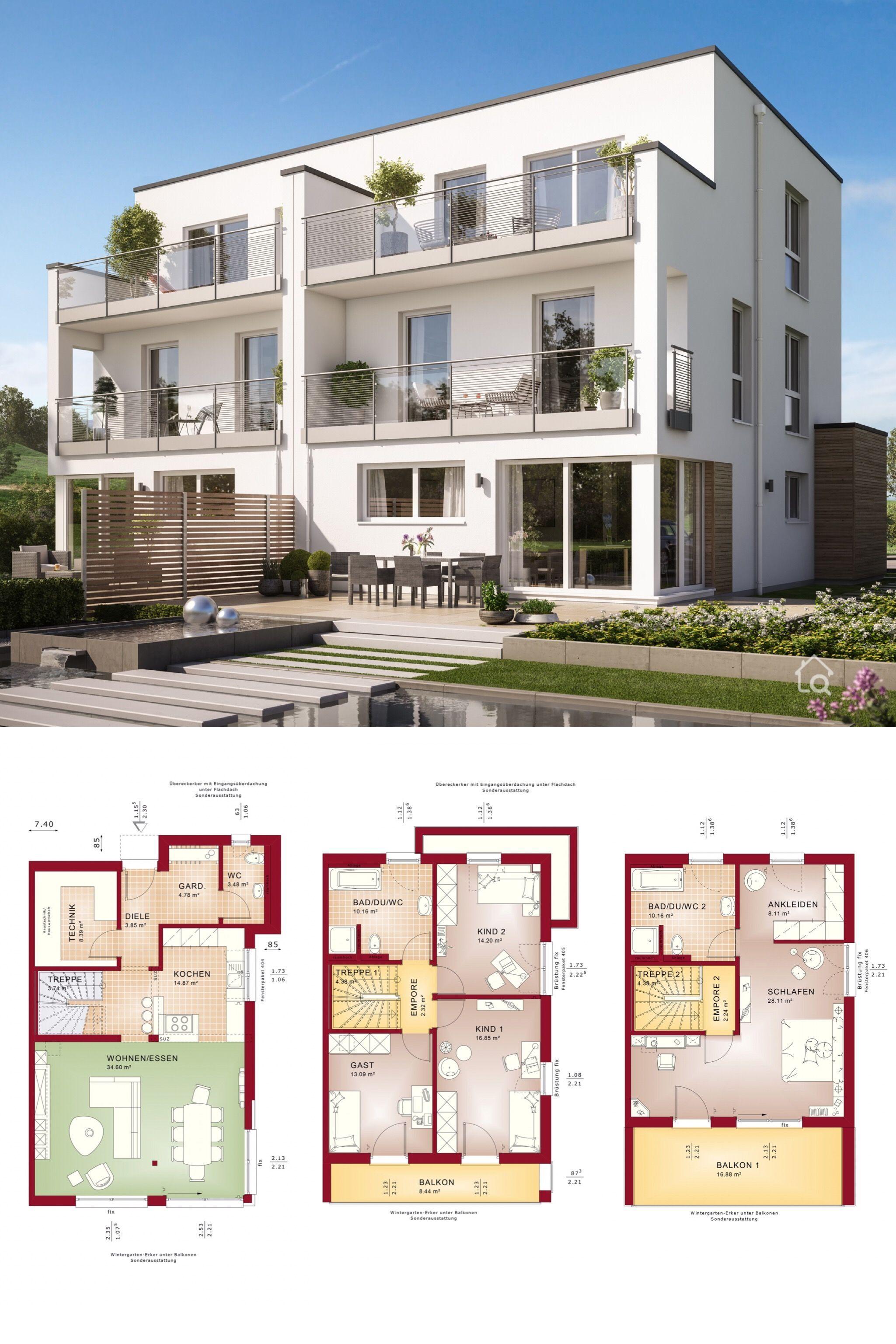 Modernes Doppelhaus Grundriss Mit 5 Zimmer Flachdach Architektur Im Bauhausstil 166 Qm Gross Doppelhaus Grundriss Grundriss Mehrfamilienhaus Haus Grundriss