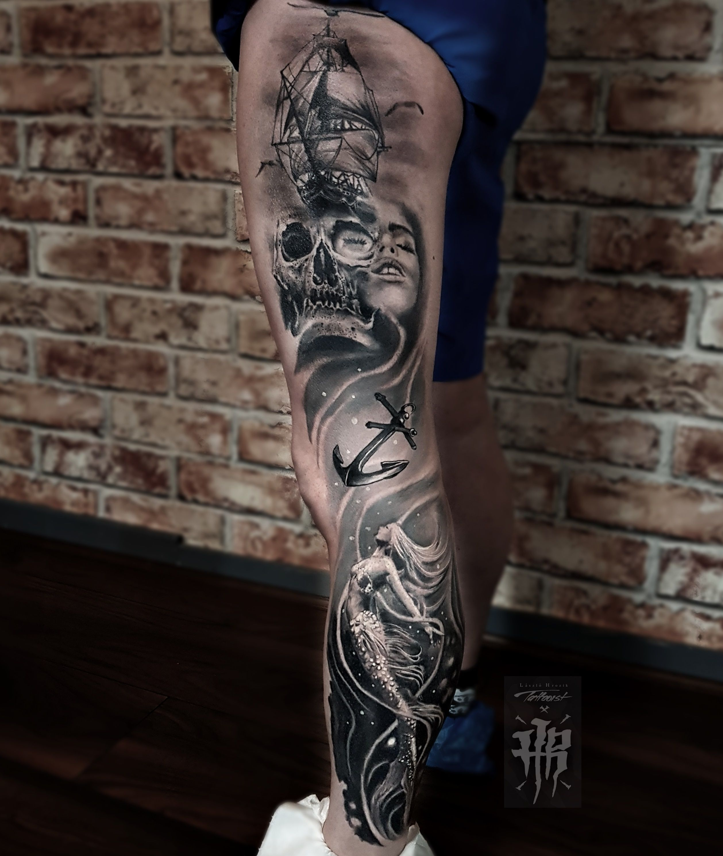 LASZLO HROZIKFull leg tattoo men Leg tattoo men, Full