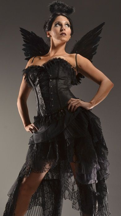 98d16152bb Dark angel halloween costume black gothic corset dress goth regular ...