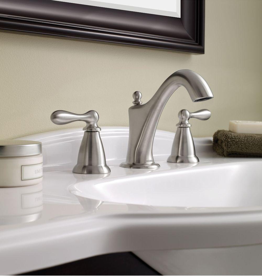 Caldwell Spot Resist Brushed Nickel Two Handle Bathroom Faucet Ws84440srn Bathroom Faucets High Arc Bathroom Faucet Moen Bathroom Faucets [ 1052 x 1000 Pixel ]