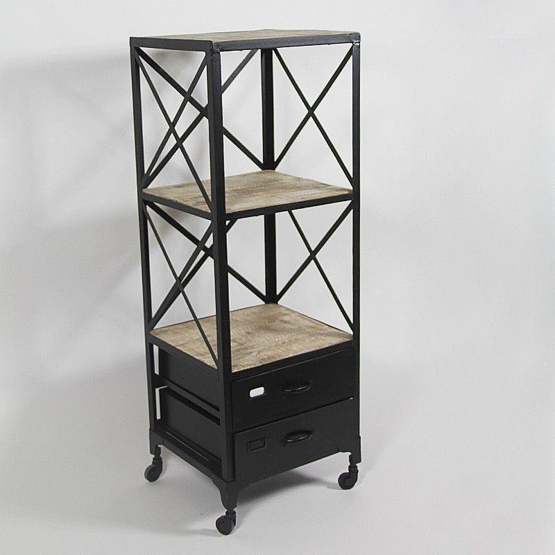 Meuble bibus de type loft industriel en m tal et bois - Meuble loft industriel ...