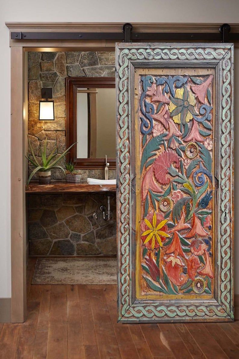 Floral Carved Farmhouse Barn Door, Rustic Entrance
