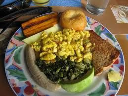 This is a typical Jamaican breakfast ready for you to start your day, Ackee and Saltfish, boiled green banana, breadfruit, Calaloo and fried dumpling, If you go to Jamaica make sure you try this dish.  Just mouthwatering makes me long for home.