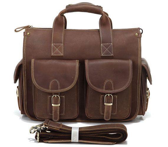 Hommes cuir véritable Vintage portable Messenger Handmade Mallette Sac Cartable