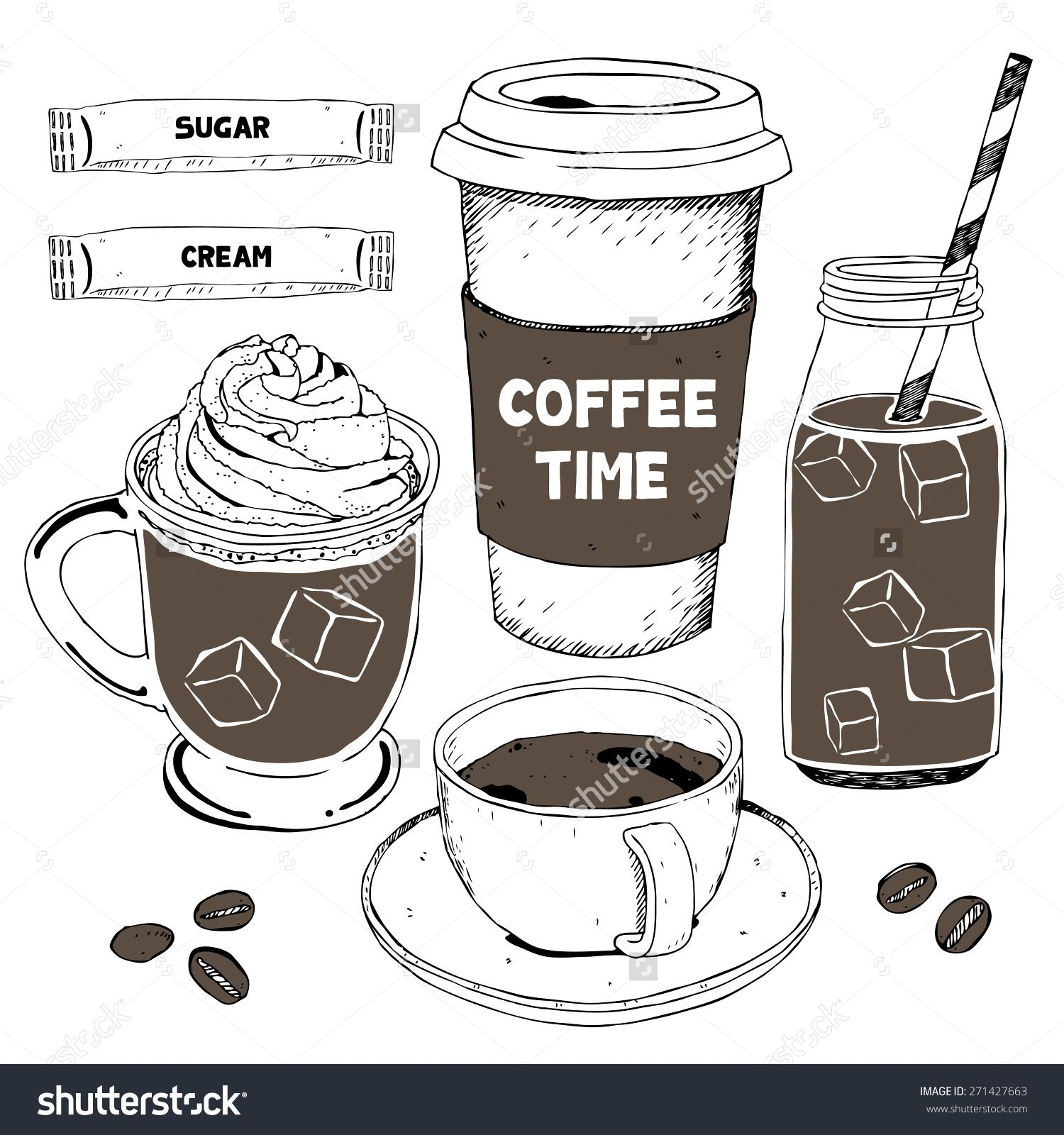stock vector hand drawing coffee menu vector set