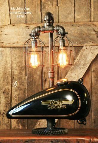 Steampunk Industrial, Motorcycle Harley Davidson Gas Tank Lamp #970