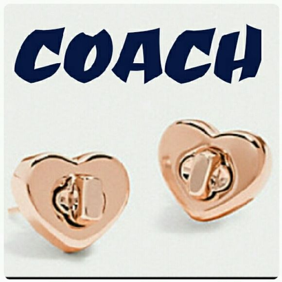 COMING SOON Coach love turnlock rose gold earrings New in gift box. I will do a price drop when I add pics of them in the box. Coach Jewelry Earrings