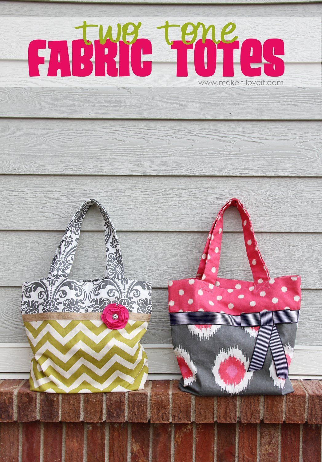 Make these gorgeous two-tone fabric totes with this easy to follow ...