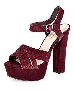 0d6520b807e Dark Red Suede Cross Strap Platform Heels from New Look £39