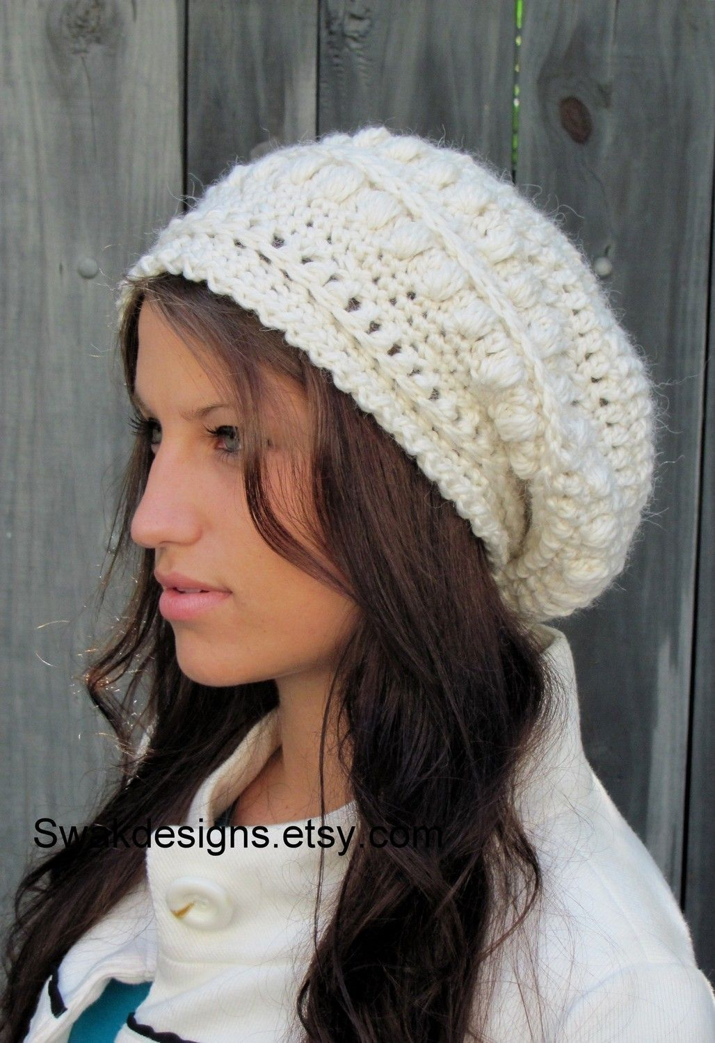 Alpaca Wool Slouchy Hat - Slouchy Bobble Beanie Winter White or CHOOSE Your  color Hand Knit. Beanie Hats ...