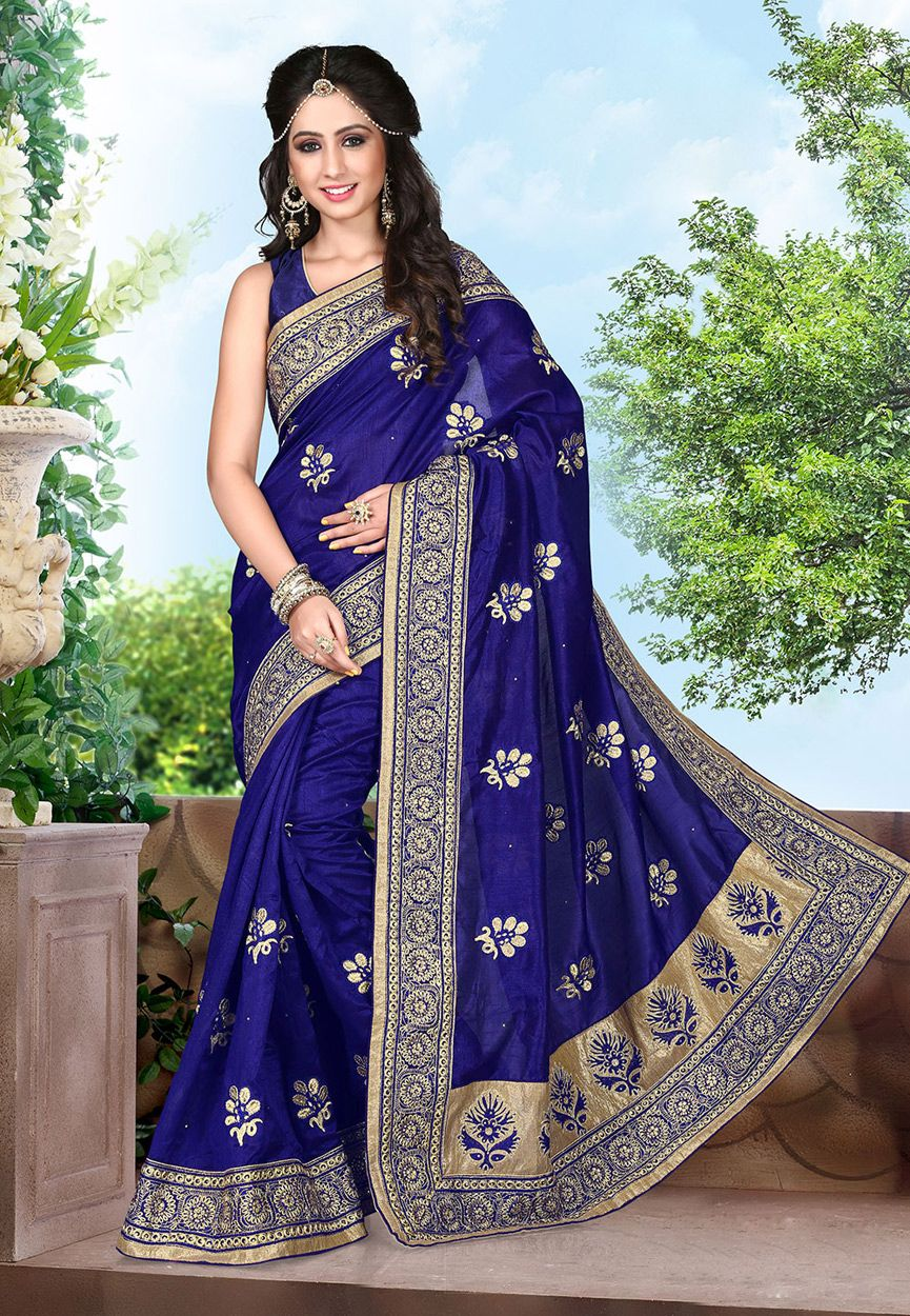 Buy Navy Blue Art Silk Saree with Blouse online, work: Embroidered, color: Navy Blue, usage: Party, category: Sarees, fabric: Art Silk, price: $119.60, item code: SAS742, gender: women, brand: Utsav