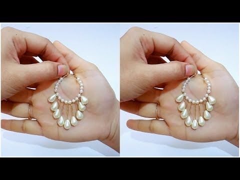 How To Make Simple Pearl Earrings Hoop At Home You