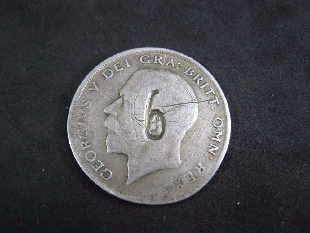 Great Britain Half Crown George V 1921 silver Counter Stamp!