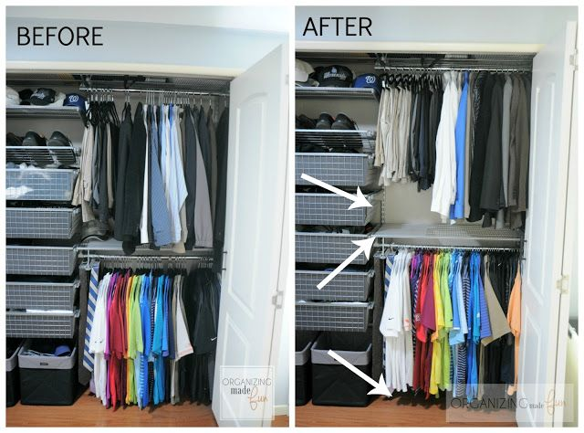 Before And After Of Men S Closet With Typical Versus Higher Hanger