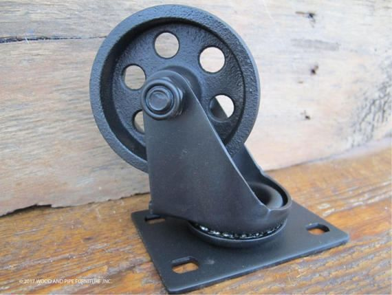 Industrial carrito de ruedas, ruedas de acero, metal, vintage, juego de 4 ruedas