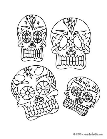 Mexican decorated skulls coloring page - print on cardstock, cut out ...