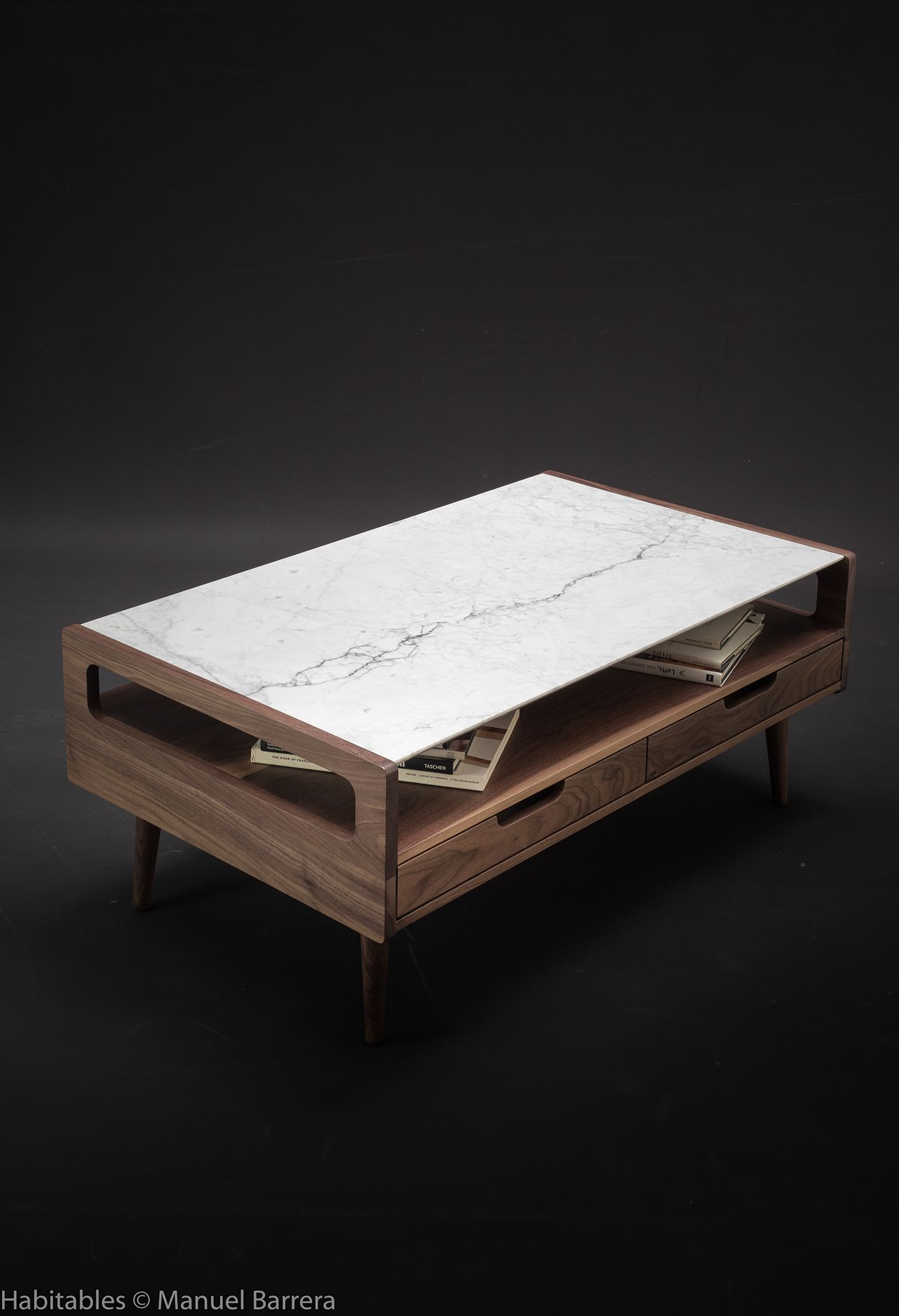 Marble And Walnut Coffee Table On Behance Home Sweet Home - Walnut and marble coffee table