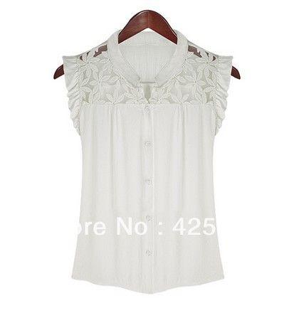 2014 nueva dama de la moda elegante patchwork encaje camisa de gasa tops para mujer blusa de más talla s m l
