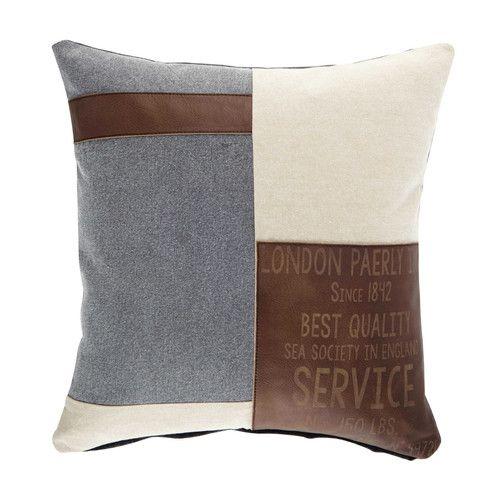 coussin en coton beige et marron 50 x 50 cm maison du monde marrons et coton. Black Bedroom Furniture Sets. Home Design Ideas
