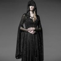 Wish | Womens Coats Wide Shoulder Gothic Long Dress Coat Priestess Witch Halloween Costumes