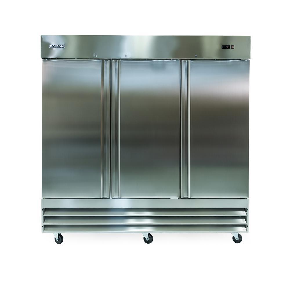 Norpole 72 Cu Ft 3 Door Commercial Upright Freezer In Stainless Steel Silver Upright Freezer Locker Storage Wire Shelving
