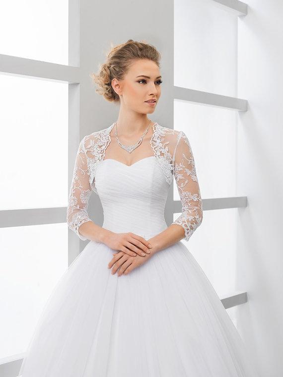 Lace 3 4 Sleeve Bridal Shrug Bolero Wedding Jacket In Ivory Or White