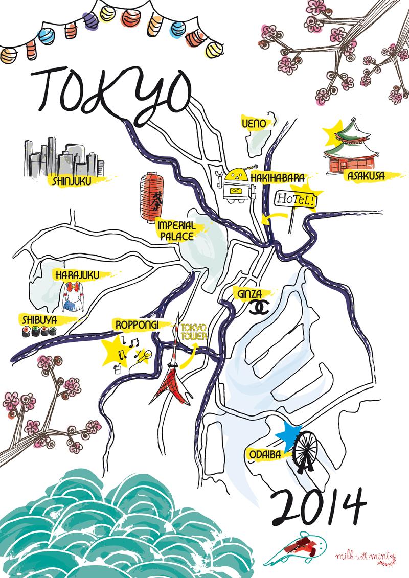 TOKYO map - Milk with Mint | Japan | Tokyo map, Tokyo travel