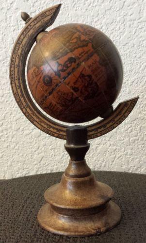 Small Vintage Italian Wooden Desk Globe Made In Italy 7 1 2 Ebay