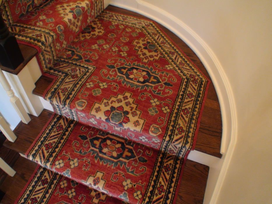 Custom Hand Knotted Oriental Stair Runner Installed On Landing   Oriental Carpet Stair Treads   Kings Court   Stair Runner   Carpet Runners   Rug Depot   Flooring