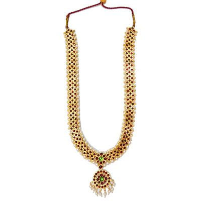 Temple Jewelry Long Necklace With Kemp & Pearls  Temple
