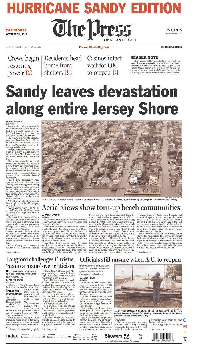 Oct 31 2012 The Press Of Atlantic City Atlantic City Beach Communities Hurricane Sandy