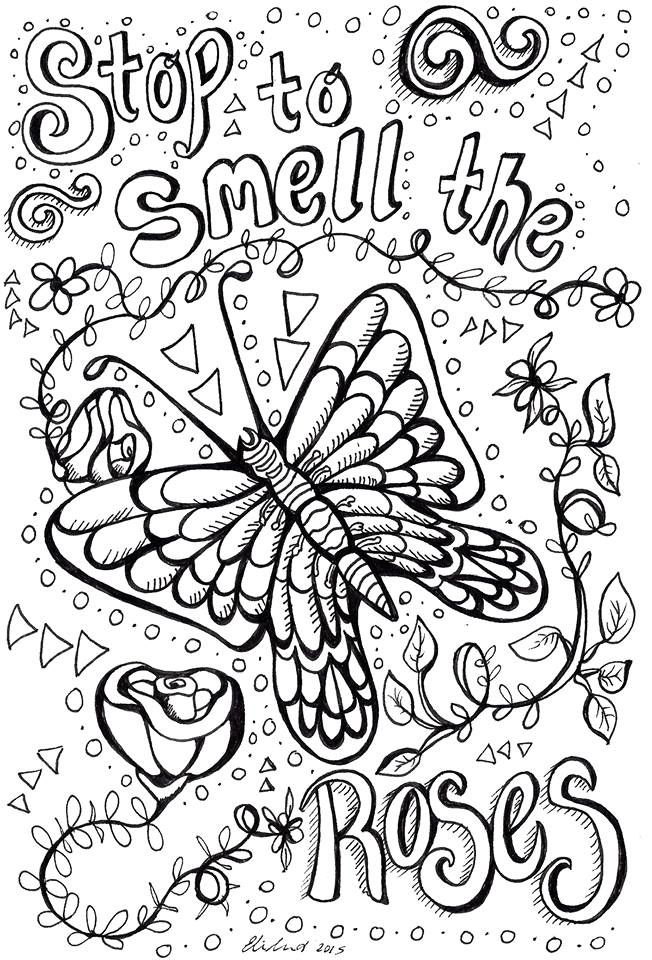 By Ellie Greets On Etsy Stop Smell The Roses Cute Coloring Pages Quote Coloring Pages Coloring Book Pages