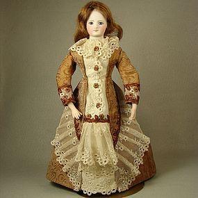 Antique Silk Damask Day Dress for 15in French Fashion Lady Doll - Carol H. Straus #dollshopsunited
