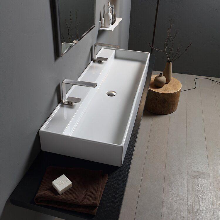 Teorema Ceramic 48 Wall Mount Bathroom Sink Wall Mounted Bathroom Sinks Bathroom Design Bathroom Sink