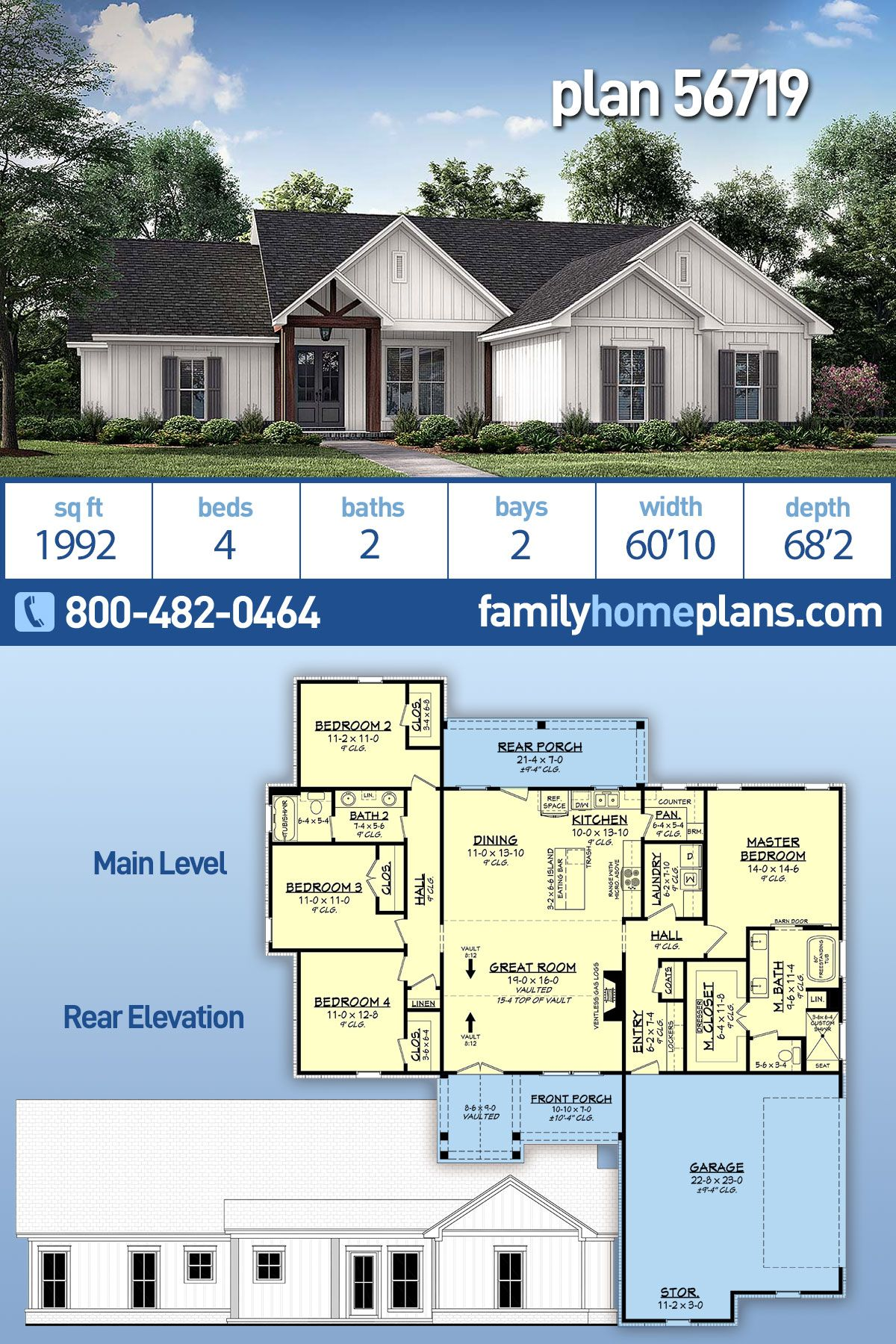 One Story Style House Plan 56719 With 4 Bed 2 Bath 2 Car Garage In 2020 Craftsman House Plans House Plans Country Style House Plans