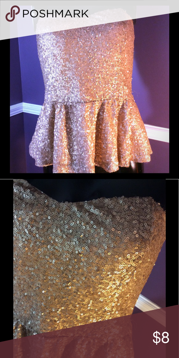 f22cd850dc Forever 21 Sequined Peplum Top size M Gold sequin tube top with peplum and  side zipper. Forever 21 Tops