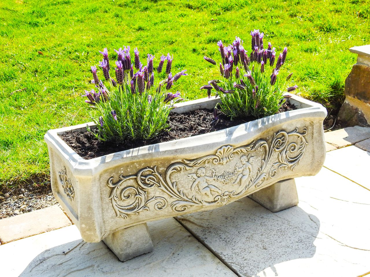 Large Decorative Stone Cast Bow Front Garden Planter Trough Pot ...