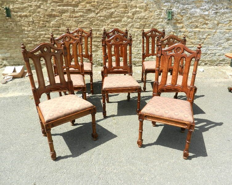 Set 8 Gothic Chairs - Eight High Back Gothic Design Oak Dining Chairs - Set 8 Gothic Chairs - Eight High Back Gothic Design Oak Dining