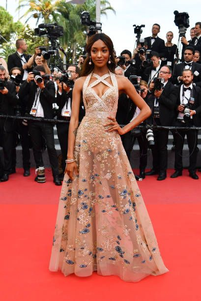 British model Jourdan Dunn poses in ELIE SAAB as she arrives on May 22 2017 for the screening of the film 'The Killing of a Sacred Deer' at the 70th edition of...