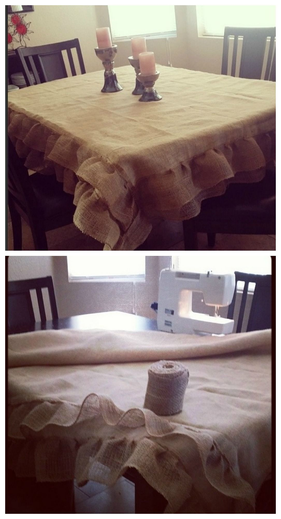 One of my favorite! made this for my friends as gifts. always a hit. Burlap Tablecloth- really cute outside on back terrace table. bit shorter than inspiration but Burlap can be itchy on skin ....and summer calls for shorts.  http://www.pinterest.com/pin/267893877806342475/