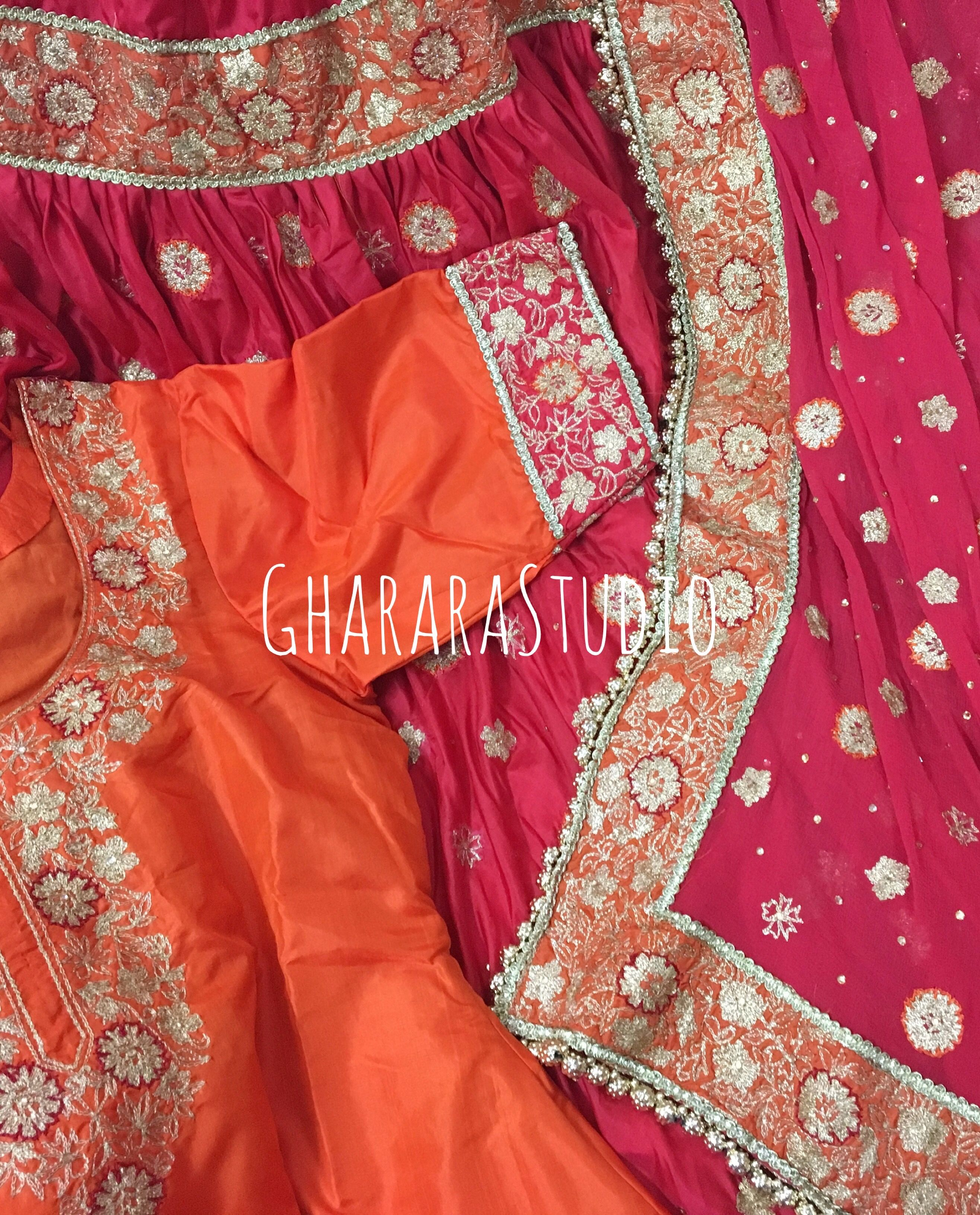 4e1427fb7f Silk Gharara with zari handwork booty all over and handwork on the laces  with contrast base. Whatsapp at +919971865919 to order.