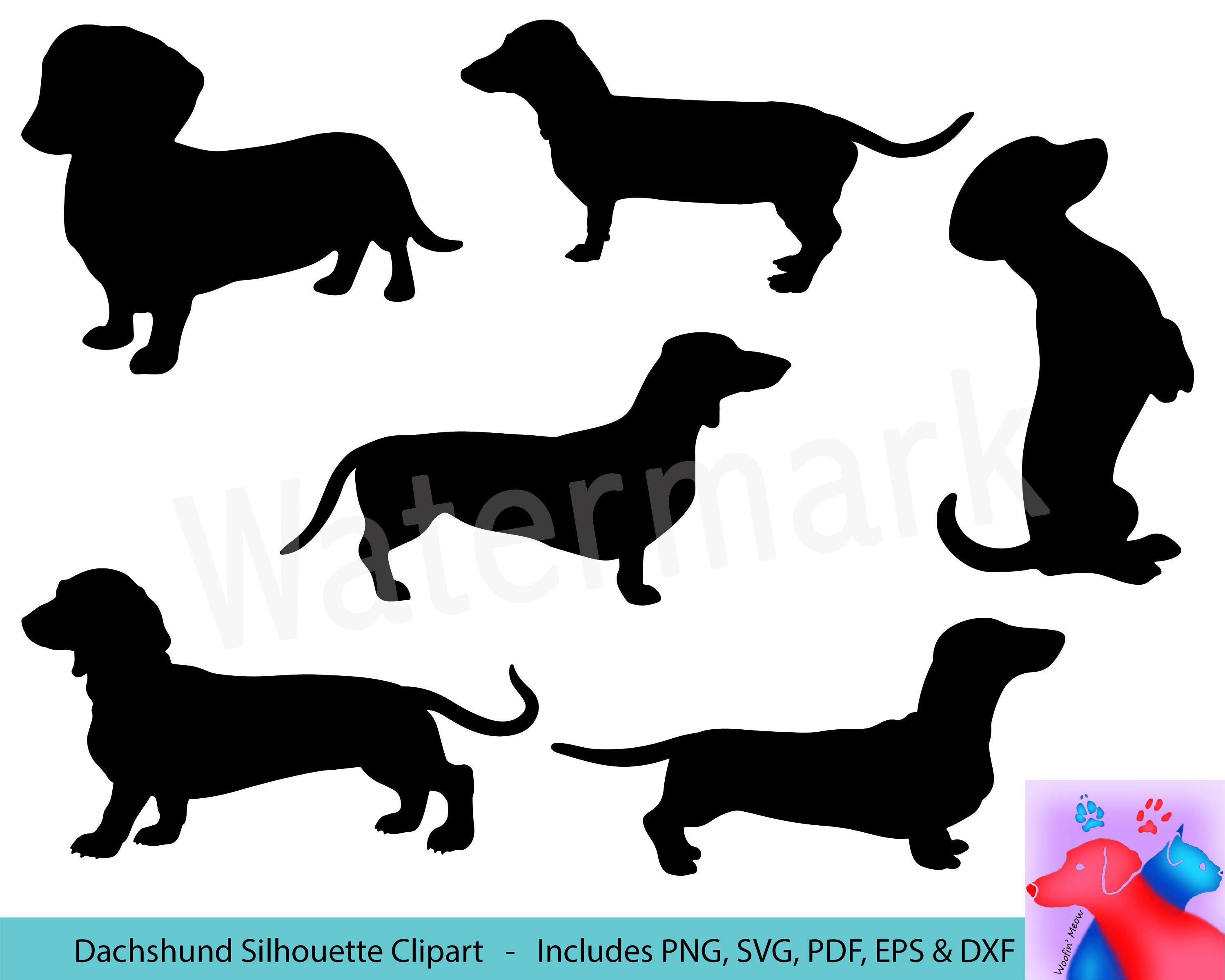 Dachshund Silhouette Svg Clipart Wiener Dog Short Legged Dog