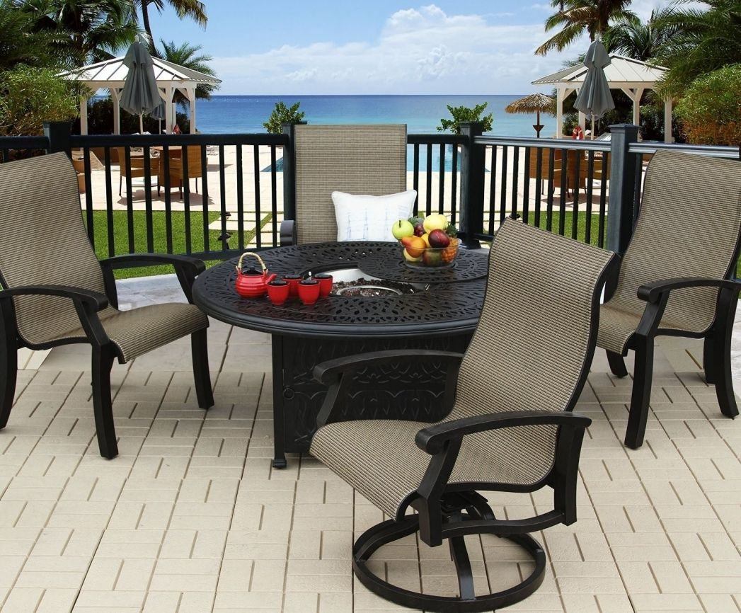 Hampton Bay Belleville 7 Piece Padded Sling Outdoor Dining Set