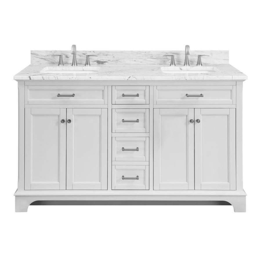 Shop Scott Living Roveland White Double Sink Vanity With Natural