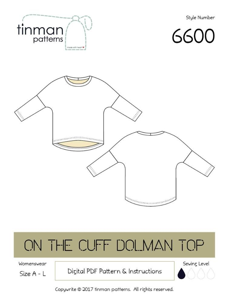 6600 On The Cuff Dolman Top | Craftsy - free pattern | free sewing ...