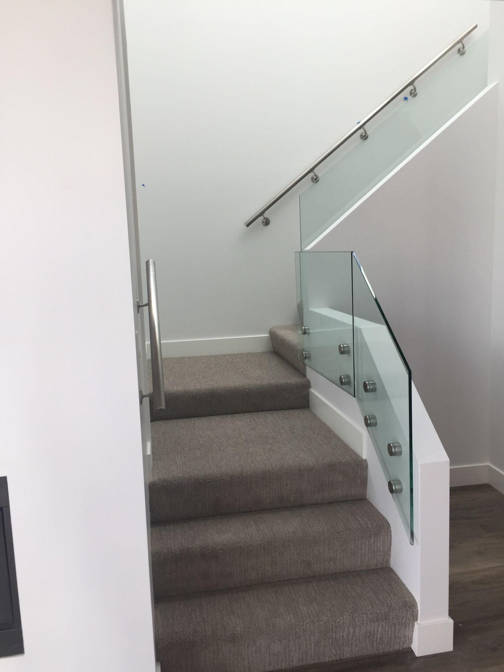 Glass standoff railing. Wall mounted hand rail. Regal ...