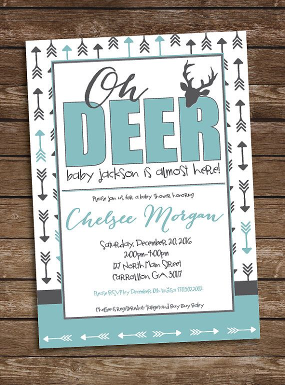 Oh Deer Baby Boy Shower Invitation