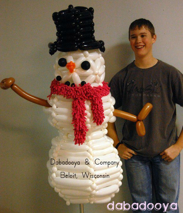 "Woven snowman created in November, and ""melted"" (deflated) at the end of February"